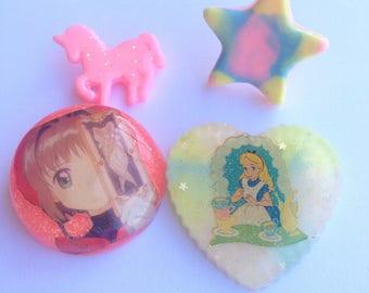 SALE! Set of sakura and alice in wonderland pins, pastel star ring and unicorn pin