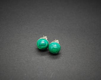 Natural Malachite Stud Earrings - Sterling Silver - 8mm