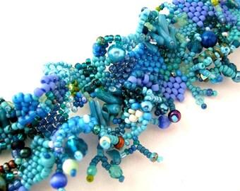Blue Bracelet for women / Blue bracelet / Blue jewelry /Handmade gifts / Gift for women Freeform peyote bracelet