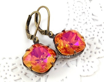 Swarovski Astral Pink Earrings - Orange Pink Cushion Cut Antique Brass Leverback Earrings - Bridesmaids Earrings Christmas Gift