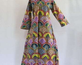 Long dress inside, ample hostess gown cotton arches yellow, green, pink and multicolor