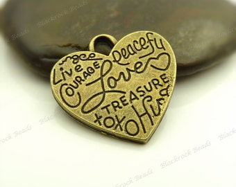 4 Inspirational Message Charms or Pendants Antique Bronze Tone Metal - 22x23mm - Heart Shaped, Word Charms - BF22