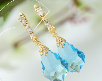 Gift for women Swarovski Earrings Dangle crystal earrings Swarovski blue earrings Blue drop earrings Swarovski jewelry Zirconia gold earring