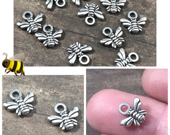 Buzzing Little Honeybee Charms, Antique Silver, Tibetan Style | Bees | Honey Bees | Jewelry Making Supplies