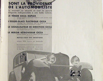 Original Vintage 1933 CICCA Motor Car Accessories Advert from a French magazine (full page 11'x15'/28x38cm)