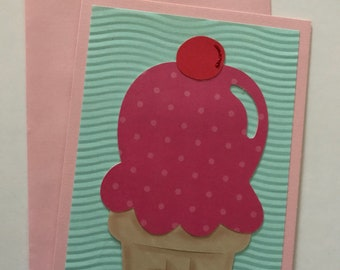 Handmade Any Occasion Card with Ice Cream Cone and Dimensional Accents
