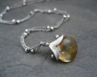 Citrine necklace, November birthstone, gemstone pendant, genuine citrine, oxidized silver, handmade jewelry, raw silver, yellow necklace