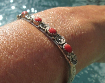 Running Bear Coral and Sterling Silver Stacking Cuff Bracelet