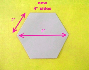 200 Paper Hexagons Templates for Patchwork  English Paper Piecing 2 inch Sides - 4 inch size