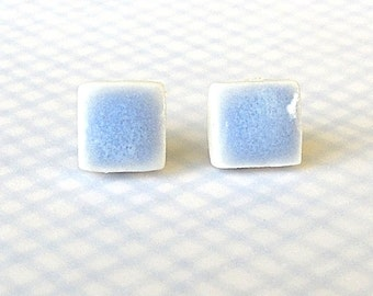 SALE! Small Stud Earrings. Square. Blue. Clay. Ceramic. Porcelain. Light Blue. Light Sapphire. Post Earrings. Surgical Steel. Minimalist