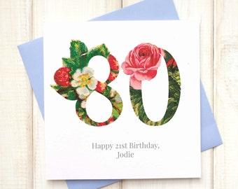 80th Birthday Card - Birthday Card for Her - Floral Birthday Card - Botanical Greetings Card - Granny Birthday Card - Milestone Birthday