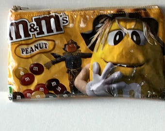 Recycled m&m Candy Wrapper Bag. Candy Bag. Peanut mm's. Halloween. Scarecrow. Vinyl Purse. Wallet. Teen Gift. Fall Decor. Thanksgiving.