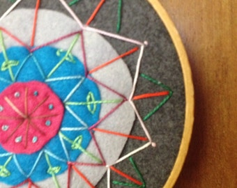 Mandala embroidery hoop art