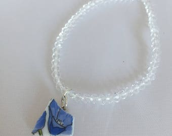 Blue and white bracelet/broken plate charm bracelet /broken china jewelry /glass bead bracelet /recycled jewelry /recycled materials /