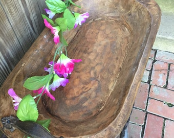 Hand Carved, Wood Dough Bowl, Iron Handles,  Natural , Rustic, Farmhouse, Centerpiece