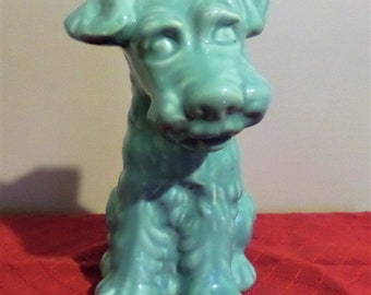 1960's Vintage Ceramic Dog.  Turquoise.