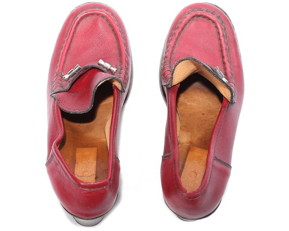 Slip Cranberry 5 Loafers Heeled Us 70s Shoes 5 Red 7 38 Vintage Ankle Heel Leather Uk Chunky Elastic RedLoafers Penny Shoe On women Eur Eq6xYwUC6