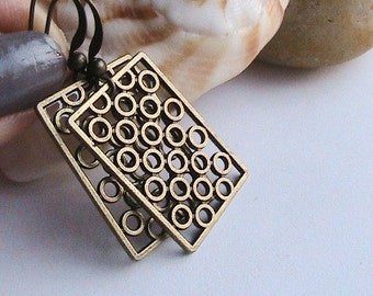 Modern Geometric Square Antique Brass Earrings - Dangle, Antique Brass, Bronze
