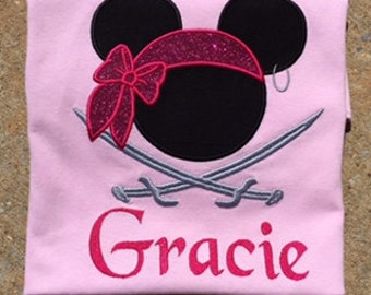 Disney Family ShirtMouse Pirate with Swords  Personalized with Pirate Font Minnie Mouse Disney World Applique Shirt