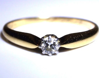 Art Deco 0.20ct Diamond Solitaire Engraved 585 14ct Yellow Gold 14K Ring Q~8 1/4