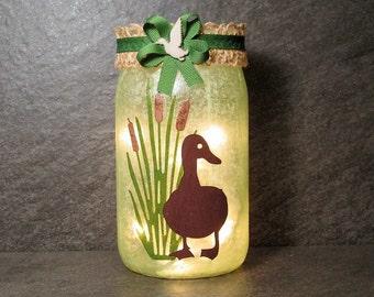 Duck in Cat Tails Mason Jar Light