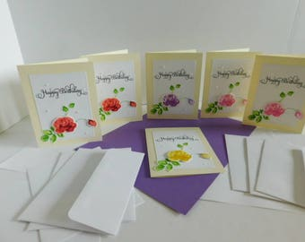Happy Birthday Rose Raised Card Set, 6 Card Happy Birthday Greetings, Clear Nuvo drops, Choose Different color or same for back ground
