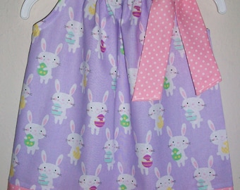 12m Easter Dress with Bunnies 12 months Pillowcase Dress with Bunny Easter Bunny Dress Spring Dress with Rabbits baby dress Ready to Ship