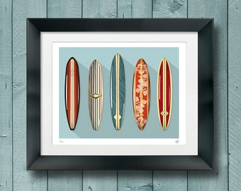 Five Vintage Surfboards - Art - Giclee Print