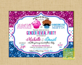 Gender Reveal Invitation, Cupcake or Muffin Gender Reveal Invitation, Sweet Cupcake or Stud Muffin Gender Reveal, Boy or Girl Gender Reveal