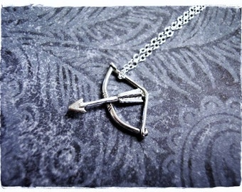 Tiny Silver Bow and Arrow Necklace - Sterling Silver Bow and Arrow Charm on a Delicate Sterling Silver Cable Chain or Charm Only
