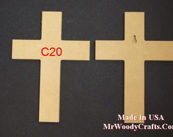 "10 16"" x 24"" 1/2"" Thick  Unfinished Wooden Crosses, Choose from 8 different styles, Ready to Paint, w/key holes.  162450-10"
