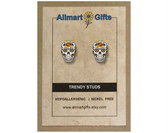 Mexican Sugar Skull Skull Stud Earrings Skull Jewelry Skull Handmade Jewelry Day Of The Dead El Dia De Los Muertos Skull Gift Earrings Studs