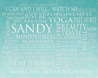 Custom Mantra - Word Art Print - 16x20 Gallery Wrapped Canvas - customized with your words and goals - personalized dreams and goals