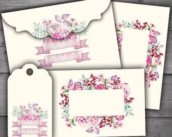 Floral Envelopes, Tags & Cards Digital Collage Sheet Printables