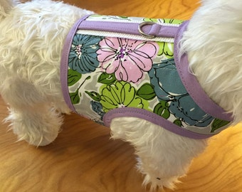 Lavender Floral Small Dog Harness Made in USA, dog harnesses, pet clothing