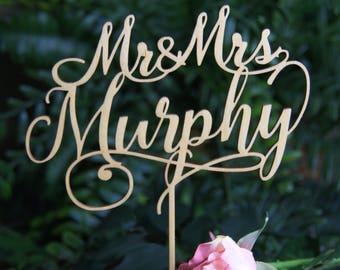 MR-MRS NAME Personalized Cake Topper, Wedding/ Anniversary/ Valentine Cake Topper, Wedding Keepsake, Rustic Chic Wedding, Wedding cake decor