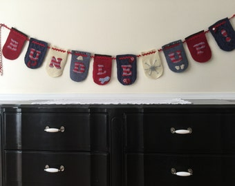 Handstitched Banner/Garland/Bunting Made From Recycled Wool Sweaters