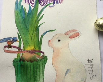 """Easter bunny and purple hyacinth, original watercolor, size: 6 1/4"""" x 8"""""""