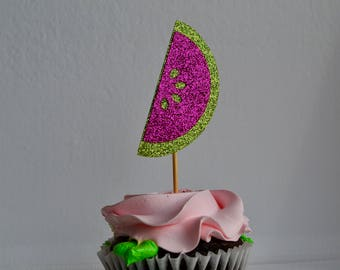 12 Watermelon Cupcake Toppers - Birthday | Party | First Birthday | Wedding | Engagement | Baby Shower | Bachelorette | Celebration