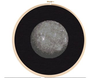 Mercury Cross Stitch Pattern - Planet Cross Stitch - Solar System Cross Stitch Pattern - Cross Stitch Mercury - Space Cross Stitch Pattern
