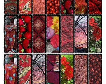 Shades of Red Collage Sheet 1 x 3 inch Rectangles for Glass Slides - Instant Download - Printable