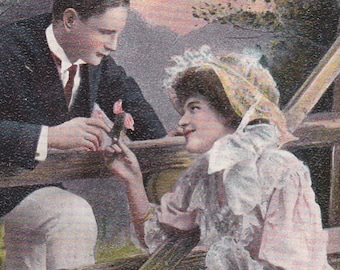"""Ca. 1910 """"Man Asking Lady, Across the Fence, to be His Valentine"""" Tuck's Valentine Greetings Postcard - 724"""