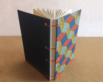 A5, Handbound Notebook Journal, Geometric Fabric, Denim fabric, Coptic Stitch, Plain recycled paper