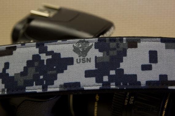 Navy Digi Cam Camera Strap 2 in or 1.5 in Wide Custom Padded Military Navy Digi Cam Camouflage DSLR SLR