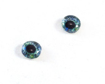 6mm Blue Green Glass Eye Cabochons - Taxidermy Eyes for Doll or Jewelry Making - Set of 2