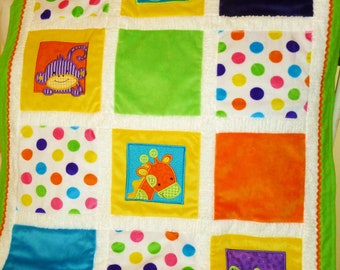 "Jungle Minky Appliqued Baby Blanket ""Too,Too Cute Jungle"""