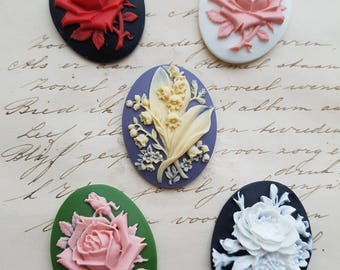 Flower Cameo Unset Cameo Mix Cameo Cabs Cabochon Flowers Rose Cameo Black Ivory Pink Green Blue White 40x30mm 5 MIX Pack