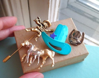 Vintage Horse Cowboy Sheriff Wild West Gold Miner Pin Brooch Lot - 4 Retro Cowgirl Metal & Enamel Brooches - Country Western Jewelry Gift