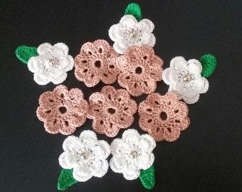 Lot de 10 Appliques fleurs au Crochet, ensemble de fleurs au Crochet de 10, fleurs au Crochet