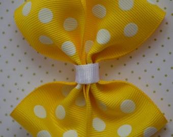 """Yellow Polk a Dots 3 1/2"""" Pin Wheel Hair Bow, Hair Bow, Hair Accessory, Bow Clips, Hair Bow Alligator Clip, Hair Bows"""